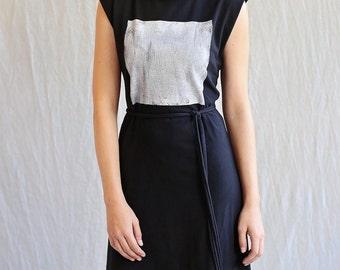 Square Dress, Cotton Jersey, Modern Minimal, Midi length- made to order