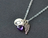 Infant Loss Jewelry / Angel Wing Necklace / Stillborn Memorial / February Birthstone Necklace / Personalized Initial