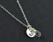 Personalized Initial Necklace / April Birthstone Necklace / Push Present April Baby / Crystal Quartz Pendant / Handstamped Necklace