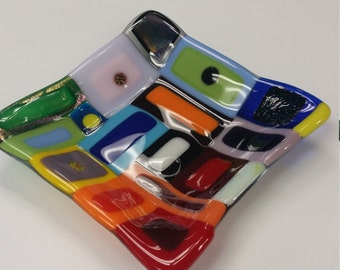 Funky Colorful Fused glass dish