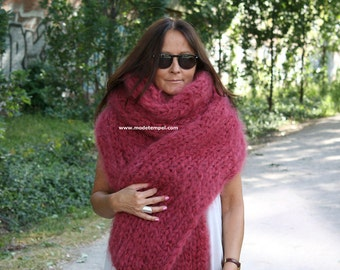 Scarf 2,6 meter Kid Mohair hand knitting