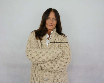 Cardigan  hand knitting 100% alpaca wool FOR ORDER ONLY