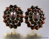 Vintage 14k Yellow Gold and Garnet Cluster Earrings