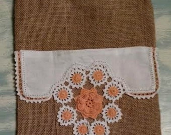 One Of A Kind Tall BURLAP Tote with Vintage Orange Crocheted Flowers and Lace Doily OFG RDT ATGCele