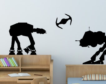 Star Wars Wall Decal Space Ship Robot Wall Decor Star Wars Battle Room Sticker Boys Bedroom Teen College Dorm Kids Room Decal Girls Room