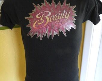 1970s Beauty soft and thin black vintage tee shirt size medium