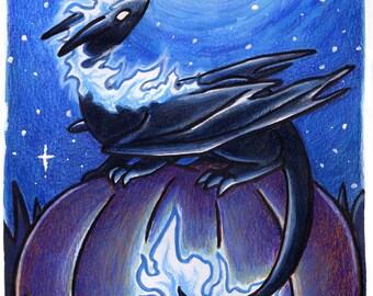 30 Days of Dragons - Moonlight Dragon - Original Mixed Media Painting