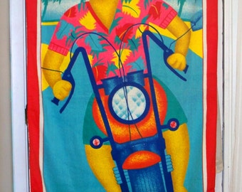 1980s motorcycle/scooter riding tropical cat beach towel