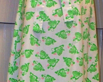 sweet 60s/70s frog print wrap skirt