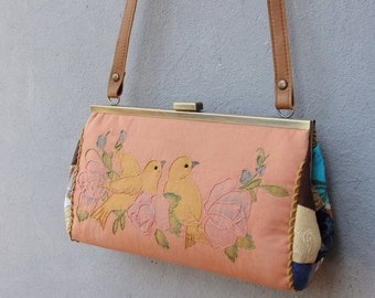 Vintage Embroidery Pouch Clutch Love Birds with Leather Strap