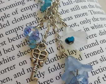 Blue & White Flower Dangle Necklace with Key and Faceted Sparkling Glass Beads - Adult or Child, Fairy, Costume, Faire