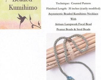 Asymmetric Ocean Blue Aqua Fully Beaded Kumihimo Necklace Tutorial featuring an Artisan Lampwork Focal Bead, Peanut Beads and Seed Beads