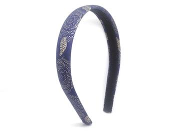 Navy and Gold Roses Headband - big girl headband - teen headband - adult headband - Rose Flower Print Headband - covered hard head band