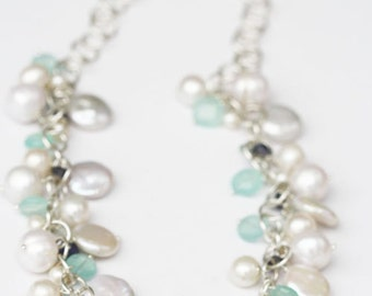 Statement Necklace, White Coin Pearls, White Pearl Necklace, Bridal, Wedding, Mint Wedding Accessories, Brides Necklace, Freshwater Pearls