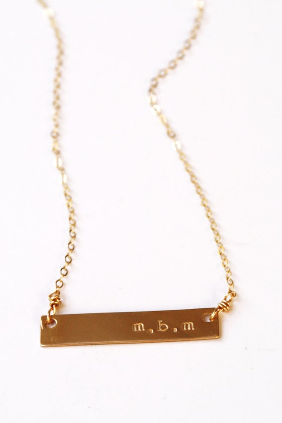 gold bar necklace gold initial necklace by