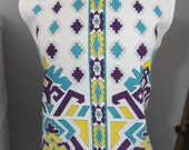 Vintage 1970s 70s Sleeveless Shell Top - Aztec Print Blouse Top - Medium / Large