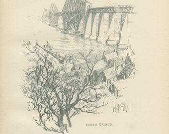 Forth Bridge, Edinburgh, 1912 Hornby Illustration 24, Pencil Drawing, Vintage Lithograph, Library Office Decor, Scottish Landmark