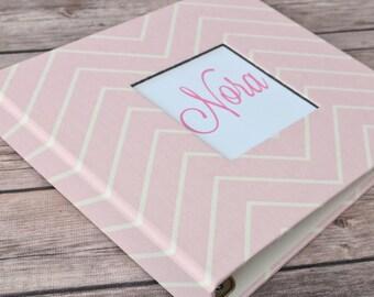 Baby Book, Baby Gift, Baby Album, Baby Memory Book, Baby Keepsake, Modern Baby Book, Pale Pink Chevron
