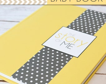 SALE // Baby Book/Baby Journal/Gender Neutral - Solid Yellow with Grey Polka Dot Cover,Perfect Bound (Pregnancy - 5 Years)
