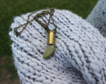 Speckled Green Stone Bullet Necklace.