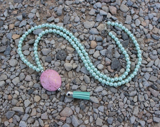Pastel Paradise Turquoise and Pink Statement Necklace.