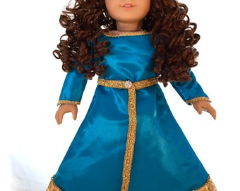 Merida Inspired Doll is a Rewigged American Girl Doll with Handmade Merida Style Dress OOAK