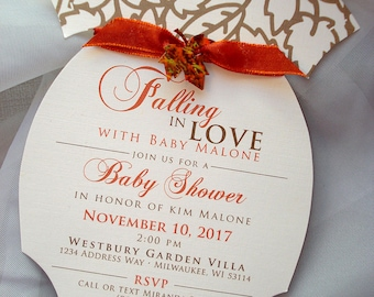 Fall Baby Shower Invitations, Autumn Shower Invitations, Onesie Baby Shower Invite, Leaf Baby Shower Invitation, Falling in Love with Baby