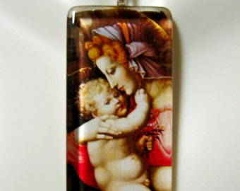 Madonna and child pendant with chain - GP01-369