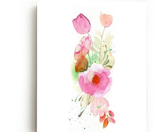 35% Off SALE - Floral Band Canvas Print - Large Wall Art - Bright Home Decor - Pink Flowers - Watercolor - Nursery Children's Decor