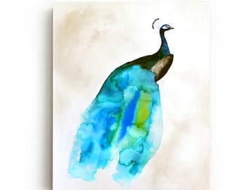 Peacock II Canvas Print - Large Wall Art - Bright Home Decor - Watercolor - Bird Art Painting - Living Room Decor - Gallery Wall