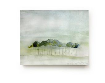 35% Off SALE - Landscape Painting Canvas Print - Large Wall Art - Bright Home Decor - Quiet - Watercolor - Gallery Wall - Living Room