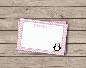 Pink Penguin Thank You Note - Pink and Grey Penguin Thank You Card - Digital Printable Thank You - Birthday Party or Baby Shower