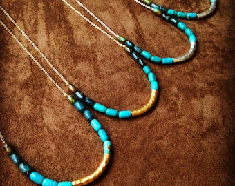 Ombre Turquoise Color Block Necklace with Vermeil or Sterling Silver Bar