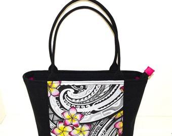 Ready to Ship - Plumeria Tattoo Design Bag - Keahi Raikes Art - zip top closure