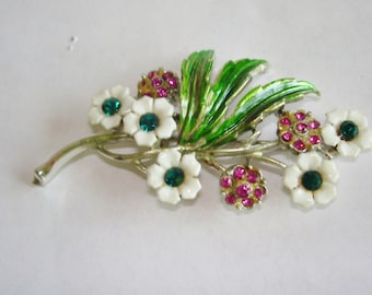 Flower Multi Color Rhinestone Flower Brooch