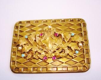 Brooch Gold Tone Pearl Rhinestone Brooch