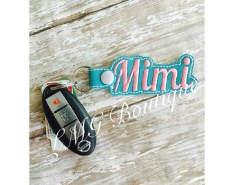 Mimi Key chain, Fob Embroidered Snap Tab,  Mimi Key Fob, Embroidered Snap Tab, Mothers Day gift