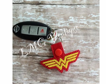 Wonder Woman Key chain, Super hero Fob Embroidered Snap Tab, Wonder Woman Key Fob, Embroidered Snap Tab
