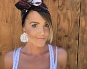 Arizona Cardinals Dolly Bow Reversible Black White Red Pinup Rockabilly Dolly Bow Tie Headband Hair Head Phoenix Accessories Football Sport