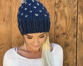 Wool Fair Isle Navy Blue & Grey Marble Hat w/ Pom Pom Hair Heart Cap Earwarmer Accessory Knit Band Fashion Chunky Thick Accessories Men Girl