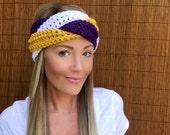 Minnesota Vikings White Purple Gold Mustard Braid Head Wrap Hair Accessory Band Earwarmer Fall Headband Fashion Girl Woman Unisex Boy Men