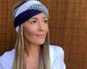 Dallas Cowboys Navy Blue White Grey Braid Head Wrap Hair Accessory Band Earwarmer Fall Texas Gray Headband Fashion Girl Woman Unisex Boy Men