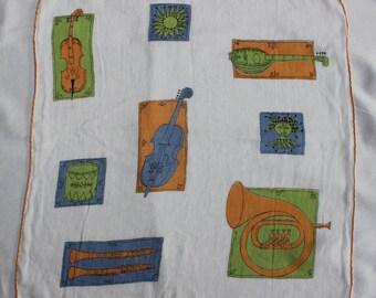 Handkerchief Kit Ann Designer Linen Hand rolled edges Mid Century Musical Instruments VINTAGE by Plantdreaming