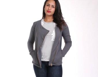 MOVING SALE - Asymmetric Jacket, Bamboo Fleece Sweatshirt, Organic Cotton, Bamboo, Gray Slanted Zipper, Purple Asymmetric Jacket - HANNAH