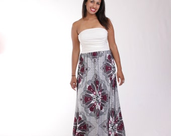 CLEARANCE - Jersey Maxi Dress, Strapless Maxi Dress, Shirred Maxi Dress, White Maxi Dress, Purple Maxi Dress, Medallion Dress, Aline - JOSIE