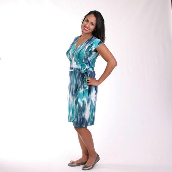Blue Wrap Dress, Real Womens Wrap Dress, Adjustable Wrap Dress, Watercolor Print, Printed Dress, Striped Dress, Blue, Teal, Navy - KELLY