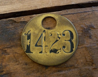 Primitive Brass Tag, Rustic Numbered Tag, Vintage Brass Tag 1423