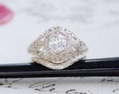 Vintage Bombe Style Filigree Sterling Silver .50 Carat Diamond Cut CZ Alternative Engagement Ring & Curved Wedding Band Set Eco Friendly