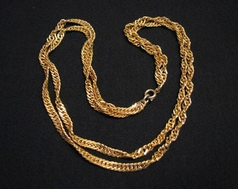 Vintage Gold Plated Double Strand Twisted Singapore Chain Link Choker Necklace