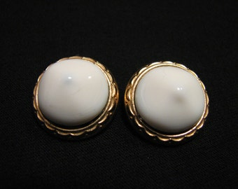 Vintage Bergere Round Gold Tone and White Lucite Dome Clip Earrings